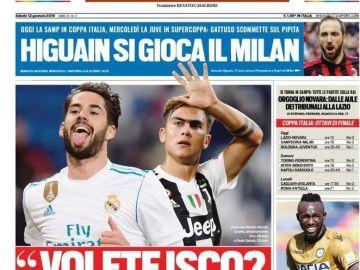 La portada con el posible trueque entre Real Madrid y Juventus