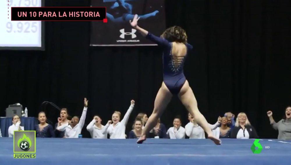 Katelin Ohashi logra un 10 en gimnasia de suelo