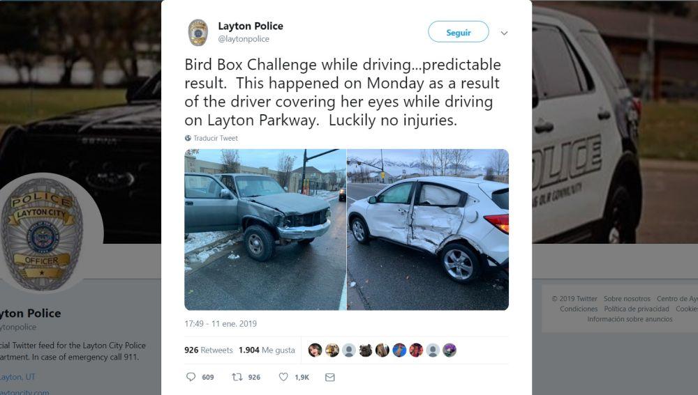 Tuit policía de Layton sobre un accidente por un reto viral
