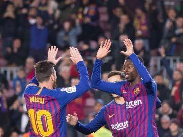 Messi, Dembelé y Coutinho, ante el Levante