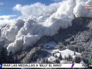 El impactante vídeo de una rápida avalancha de nieve en los Alpes suizos