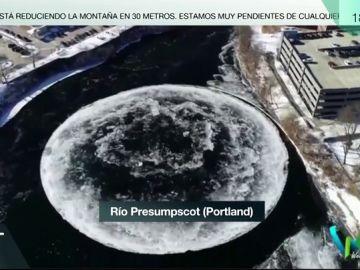 Círculo de hielo en un río de Portland
