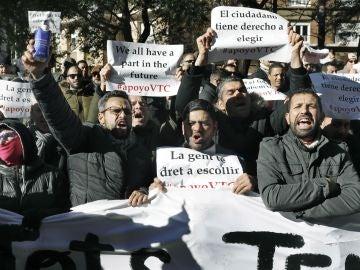 Protesta de los conductores de VTC en Barcelona