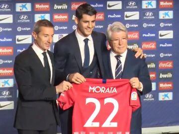 Álvaro Morata, en su presentación con el Atlético de Madrid