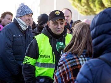 Tito Álvarez, portavoz de Élite Taxi, en una manifestación
