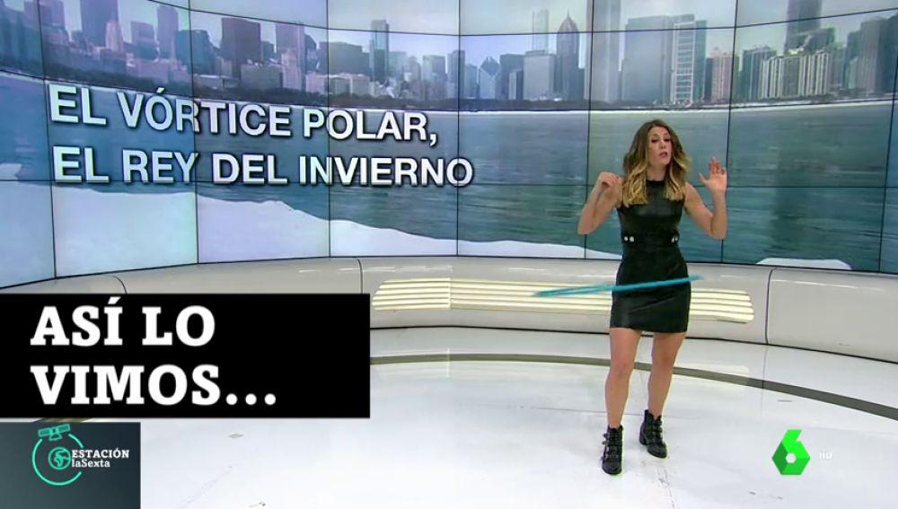 Lo que no se vio del baile del 'hula hoop' de Isabel Zubiaurre para explicar el vórtice polar