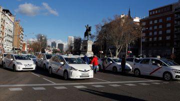Taxistas en el Paseo de la Castellana.