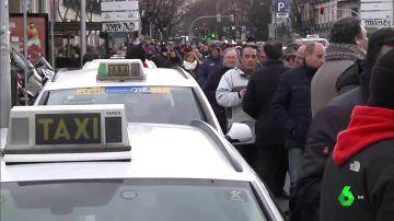 Imagen de la huelga de taxis