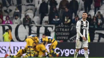Cristiano, cariacontecido tras un gol del Parma