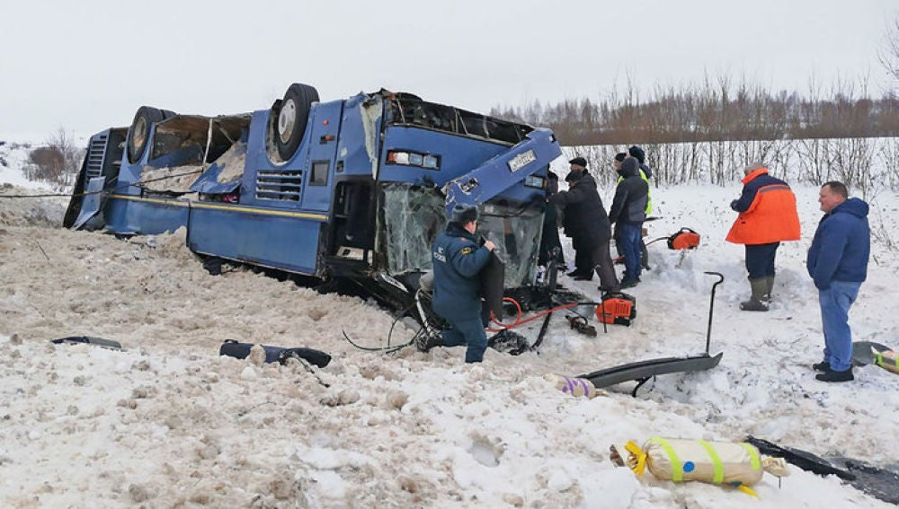 Accidente de autobús con niños en Kaluga, Rusia