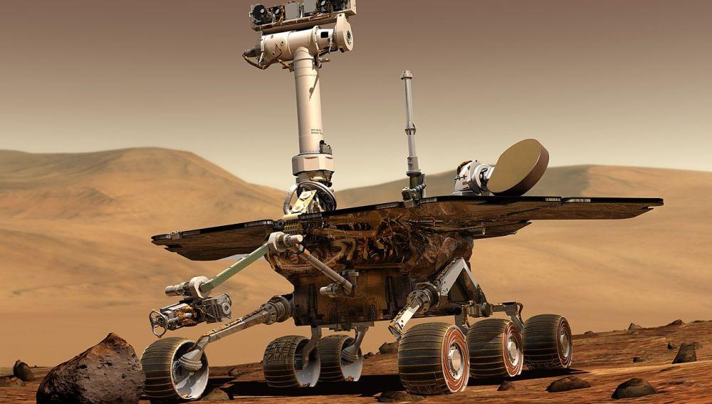Representacion artística del rover Opportunity en Marte