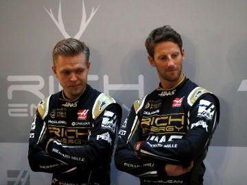 Magnussen y Romain Grosjean, en la presentación del Haas