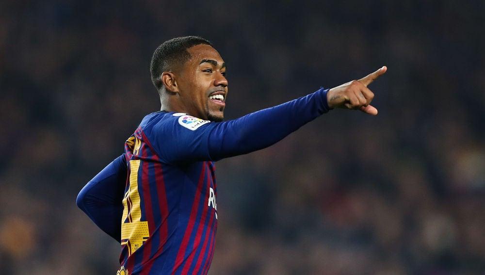 Malcom celebra un gol con el Barcelona
