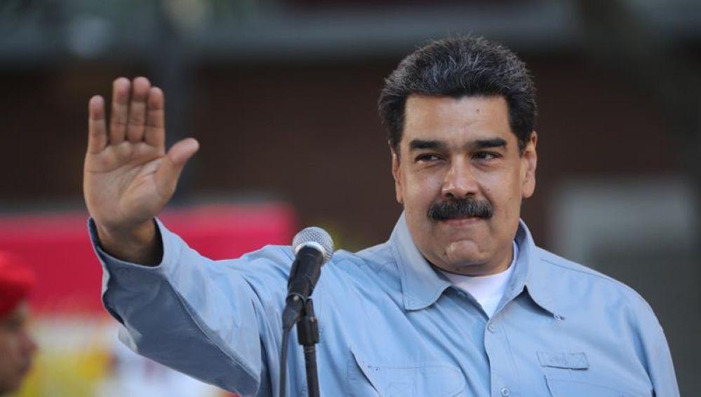 Nicolás Maduro habla durante un acto en la Plaza de Bolívar,