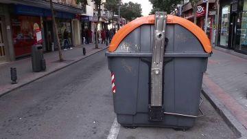 Un contenedor de basura en Madrid