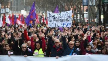 Un momento de la manifestación de los taxistas madrileños por las calles de la capital