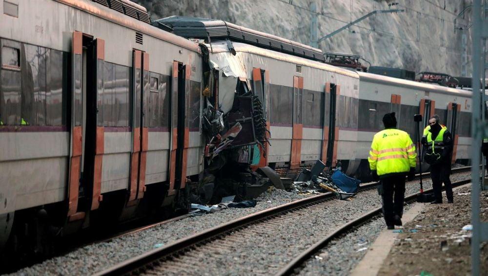 Imagen del accidente de trenes en Barcelona
