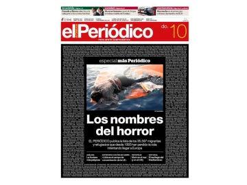 Imagen de la portada de 'El Periódico'