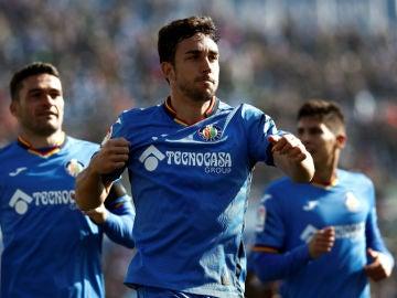 Mata celebra un gol con el Getafe