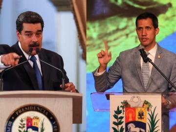 Nicolás Maduro y Juan Guaidó en diferentes actos en Venezuela