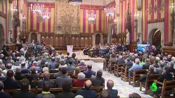 Imagen de alcaldes catalanes concentrados en Barcelona