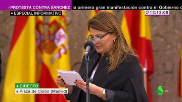 María Claver en la concentración de Madrid
