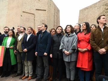 La foto de PP, Ciudadanos y Vox en la manifestación en Colón contra Pedro Sánchez