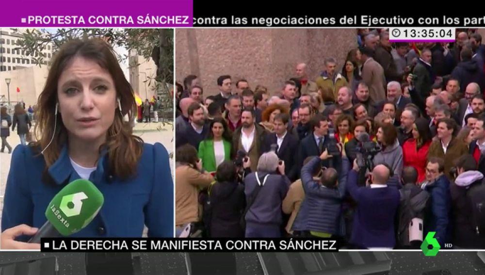 Andrea Levy en la manifestación contra Sánchez