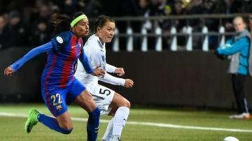 Andressa Alves, durante un partido del Barcelona femenino