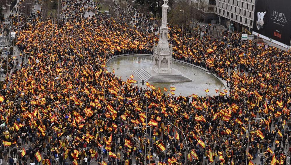 Imagen de la concentración en la plaza de Colón de Madrid