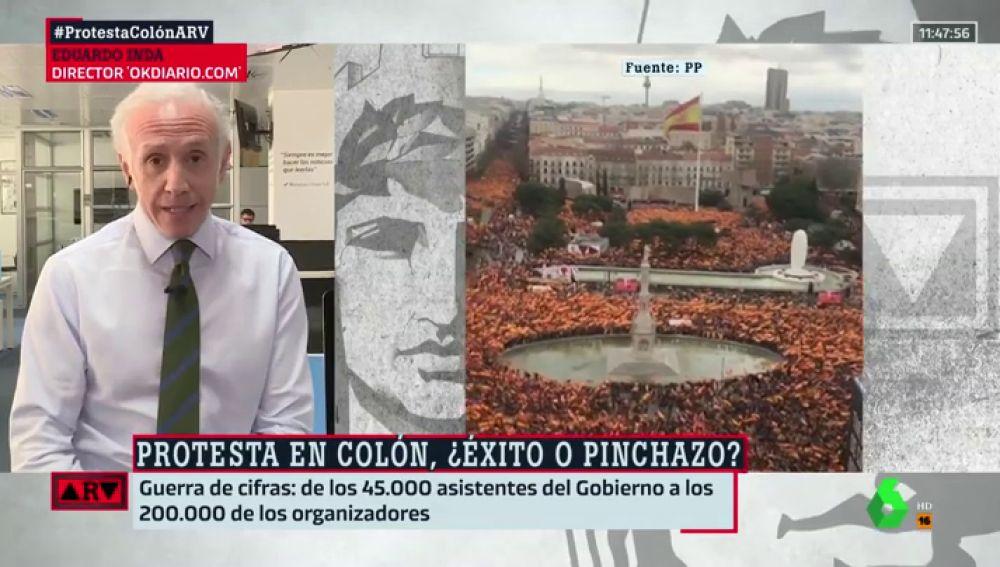 """Inda cuenta más asistentes a la manifestación contra Sánchez que el propio PP: """"Convocaron a 300.000 personas. Es un éxito"""""""