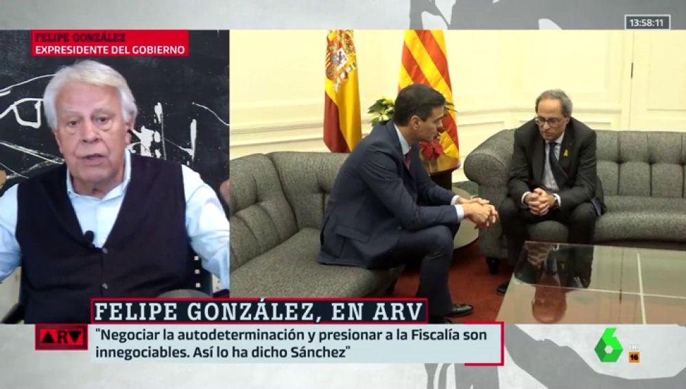 """Felipe González sale en defensa de Pedro Sánchez: """"Él ha dicho con toda totalidad que no va a negociar la autodeterminación porque ni quiere ni puede"""""""