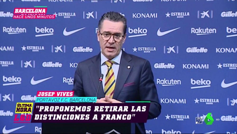 El Barcelona retira las condecoraciones que había otorgado a Franco