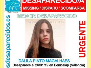 Dalila Pinto, la menor de 13 años desaparecida