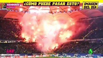Los aficionados del Dynamo Dresden montaron un infierno de bengalas en la grada del campo del Hamburgo