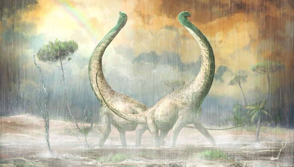 Ilustración del titanousaurio Mnyamawamtuka en su entorno