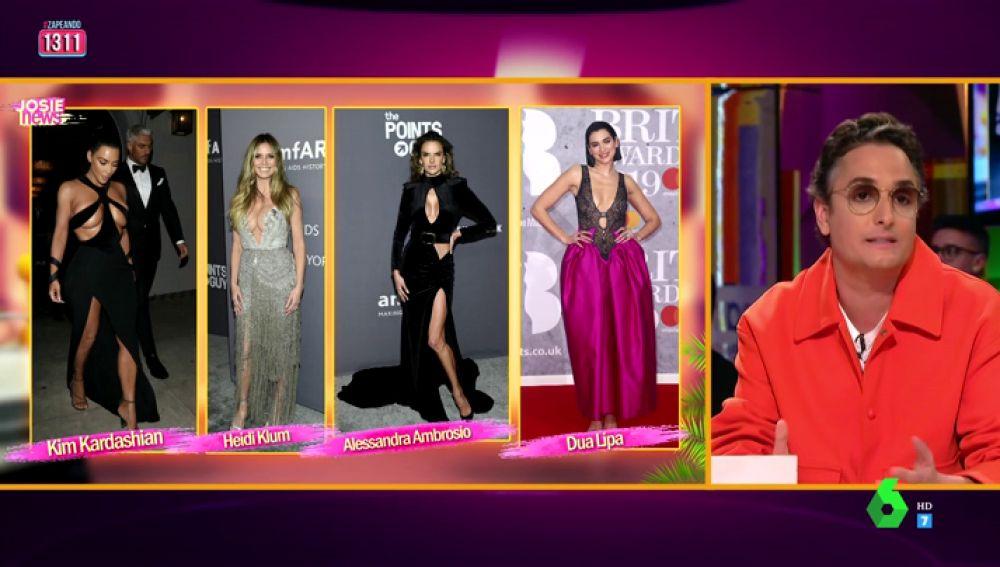 """Kim Kardashian, Dua Lipa, Heidi Klum... Josie analiza los escotes de la temporada: """"Ella no tiene ni que estar en la lista porque ese pelo es un horror"""""""
