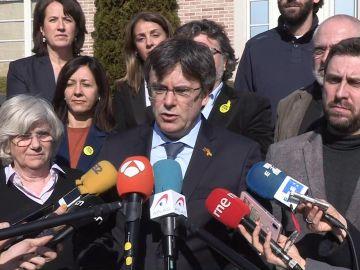 El expresidente de la Generalitat Carles Puigdemont tras la reunión del 'Consell per la República' en Waterloo, Bélgica