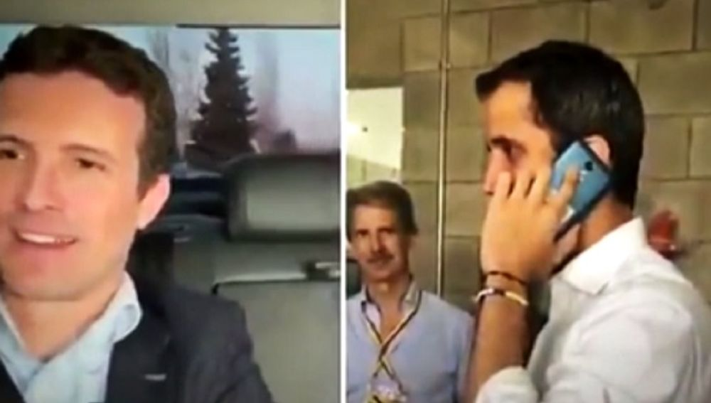 Llamada telefónica entre Pablo Casado y Juan Guaidó