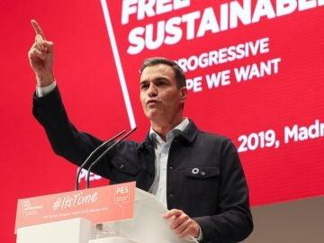 Pedro Sánchez durante su intervención en la última jornada de la convención del Partido Socialista Europeo