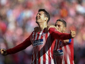 Morata celebra un gol con el Atlético