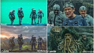 Escenas de películas antes y después de los efectos especiales.