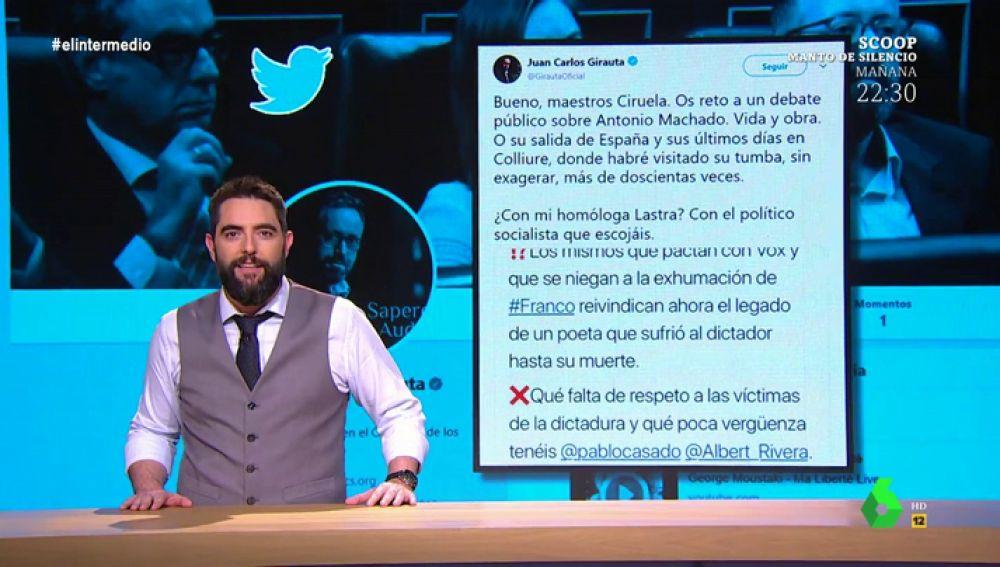 """Dani Mateo explica por qué los políticos """"son Machadolibers"""": Girauta asegura que ha visitado """"sin exagerar más de 200 veces su tumba"""""""