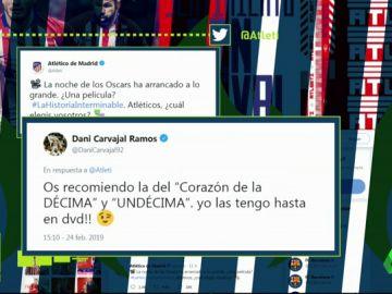 El Atlético de Madrid se cachondea en Twitter del penalti a Casemiro y Carvajal le contesta