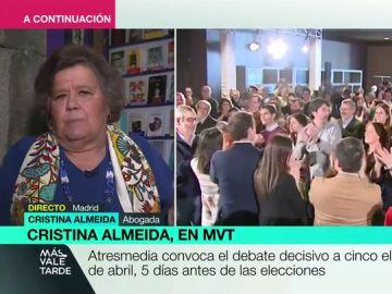 """Cristina Almeida, rotunda con el """"cordón sanitario"""" de Ciudadanos: """"Renunciar a pactar es tanto como renunciar a ser demócratas"""""""