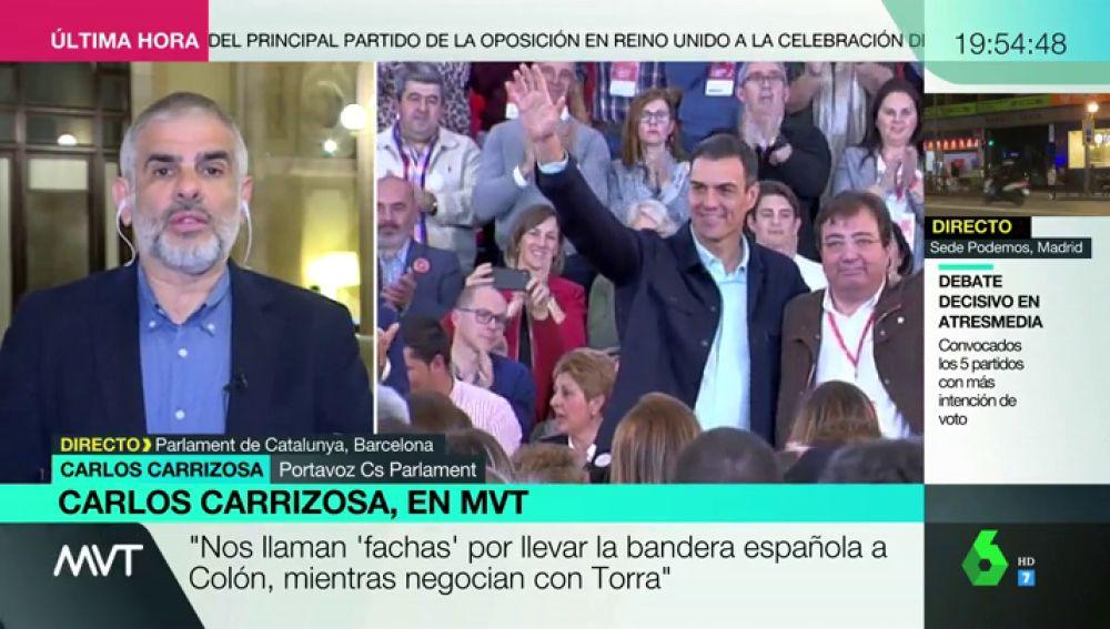 """Carlos Carrizosa justifica así el veto al PSOE: """"Nos llaman 'fachas' por llevar la bandera española a Colón, mientras negocian con Torra"""""""