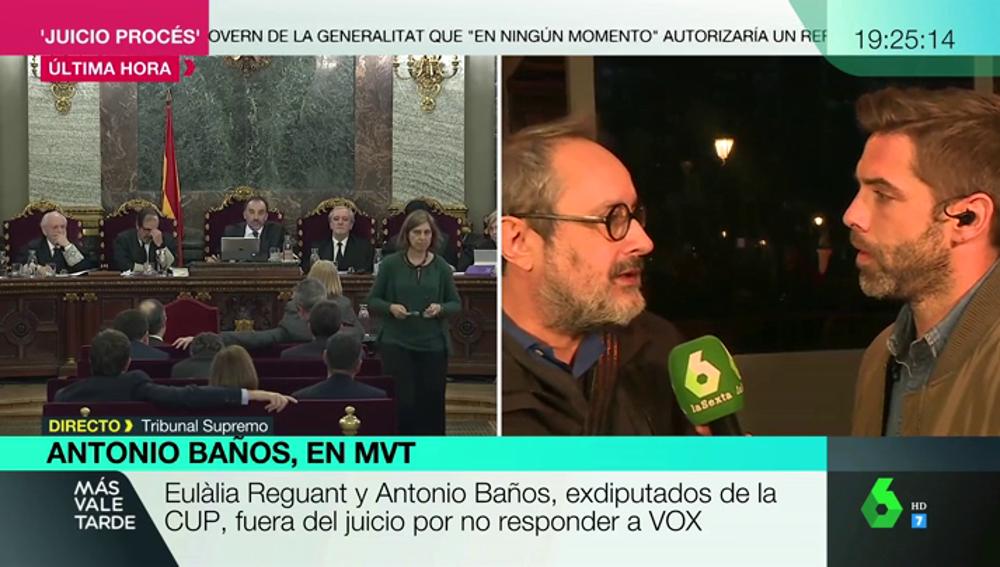 """Antonio Baños defiende no haber respondido a Vox en el juicio del 'procés' """"por respeto a la lucha feminista, LGTBI y a los derechos democráticos"""""""
