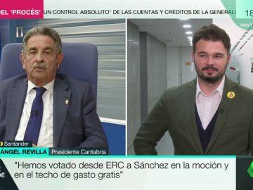 """Las muestras de afecto de Gabriel Rufián a Miguel Ángel Revilla: """"Es cojonudo"""""""