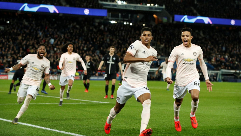 Rashford celebra su gol contra el PSG