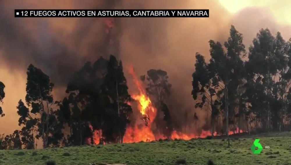 Incendios forestales: más de 10 fuegos siguen asolando Asturias y Cantabria